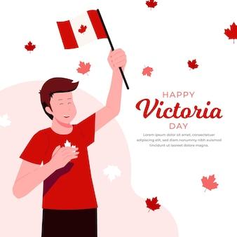 Illustration de la fête de la victoria canadienne plat biologique