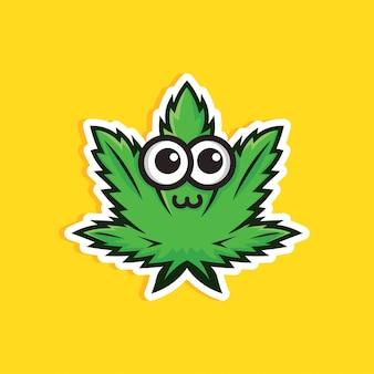 Illustration de feuille de cannabis mignon sur jaune.
