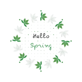 Illustration de feuille circulaire avec thème de printemps