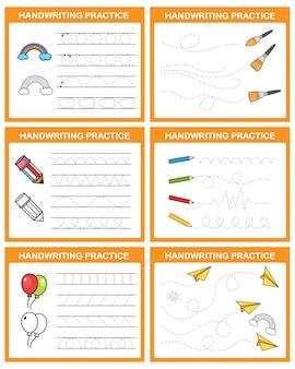 Illustration de la feuille de pratique de l'écriture manuscrite