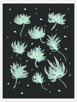 Illustration de feuille verte dans un style aquarelle, adaptée à la décoration murale, à la couverture, à l'invitation, à l'affiche, à la carte, à la bannière, au prospectus et à d'autres