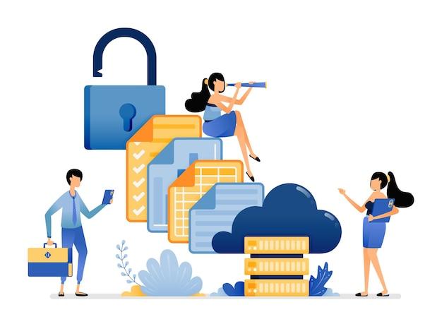 Illustration des fichiers d'organisation et des données de rapport d'entreprise dans une base de données sécurisée