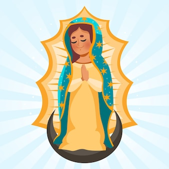 Illustration de fiesta de la virgen design plat