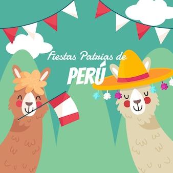 Illustration de fiestas patrias de pérou dessinés à la main