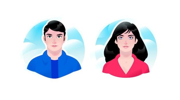 Illustration d'une fille et un avatars de gars. couple d'homme et de femme. deux portraits d'homme d'affaires.