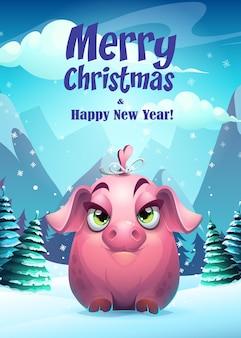 Illustration fille cochon carte de voeux joyeux noël