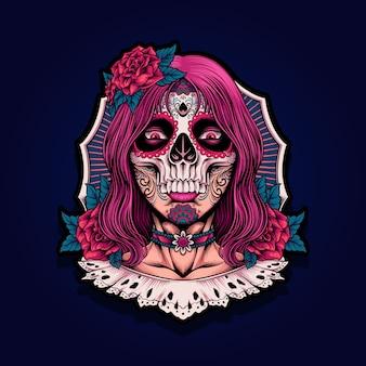 Illustration de fille de crâne muertos de dia de los muertos