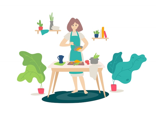 Illustration d'une fille dans un tablier de cuisine dans la cuisine