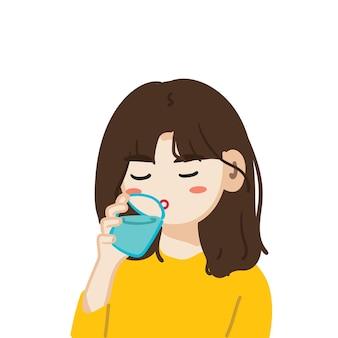 Illustration d'une fille de dessin animé buvant un verre d'eau