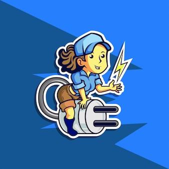 Illustration d'une fille électricien volant sur interrupteur