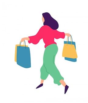 Illustration d'une fille faisant du shopping.