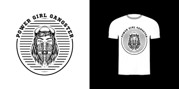 Illustration fille gangster pour la conception de t-shirt