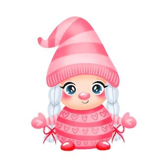 Illustration de la fille de gnome de la saint-valentin dessin animé mignon amoureux isolé