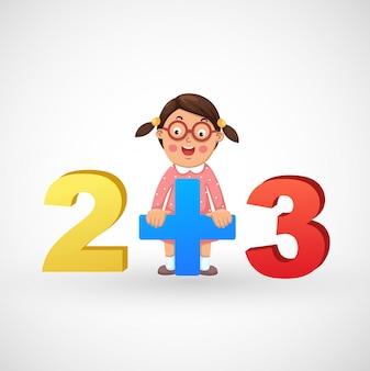 Illustration d'une fille isolée avec les chiffres