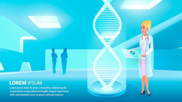 Illustration fille médecin détient la main carte médicale