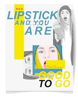 Illustration de fille moderne avec texte rouge à lèvres et vous êtes prêt à partir