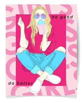 Illustration de fille moderne avec texte: sois bien, fais mieux