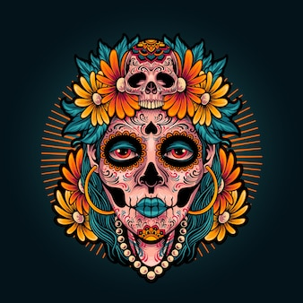 Illustration fille muertos de dia de los muertos