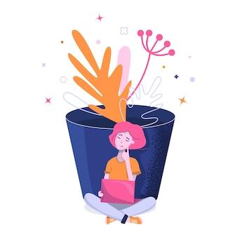 Illustration d'une fille avec un ordinateur portable