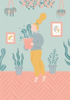 Illustration de fille avec des plantes