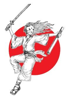 Illustration de fille samouraï masquée