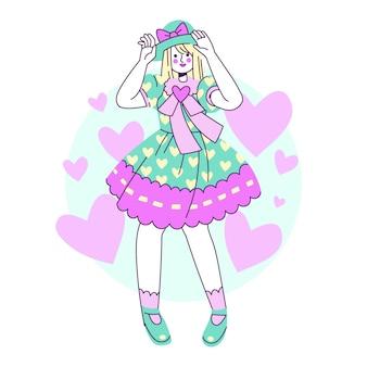 Illustration de fille de style lolita plat dessiné à la main