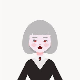 Illustration de fille vampire. beau et cool vampire.