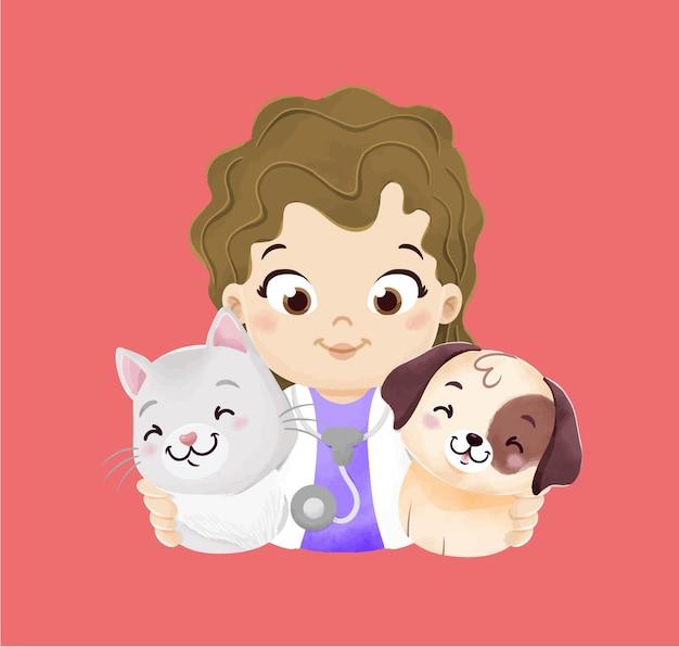 Illustration de fille vétérinaire aquarelle