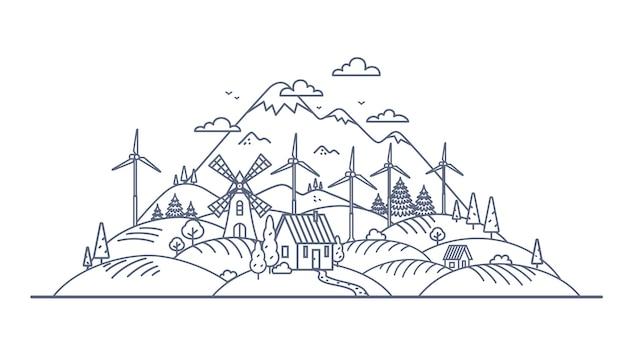 Illustration de fine ligne de concept d'énergie verte