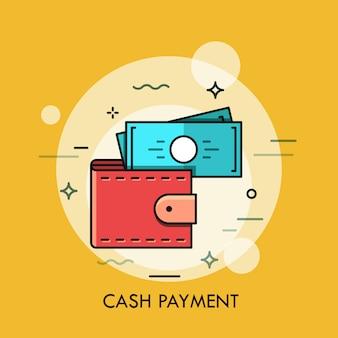Illustration de fine ligne de portefeuille et de billets de banque