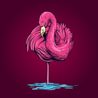 Illustration de flamant rose