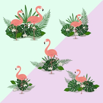 Illustration flamingo été tropical