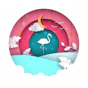 Illustration de flamingo. paysage de papier de dessin animé.