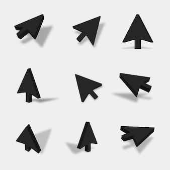 Illustration de la flèche 3d noire avec différentes vues et angles