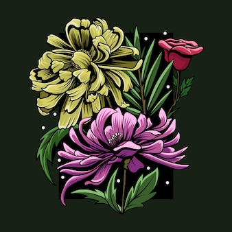Illustration de fleur colorée abstraite