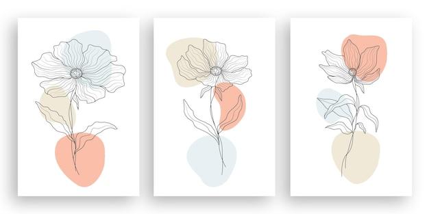 Une illustration de fleur minimaliste dessin au trait dans le style d'art en ligne