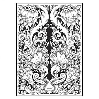 Illustration de fleur motif ajouré sculpté. motif indonésien.