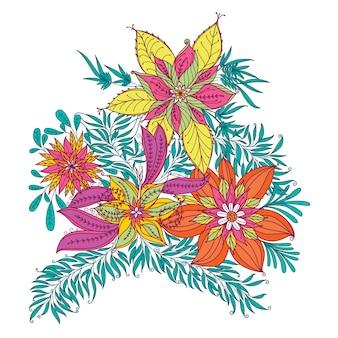 Illustration de la fleur motif tropical de fleurs et de feuilles de vecteur.