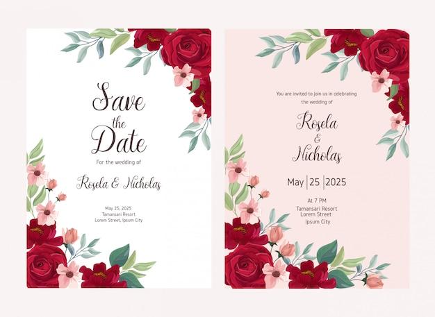 Illustration de fleur rose pour carte de mariage