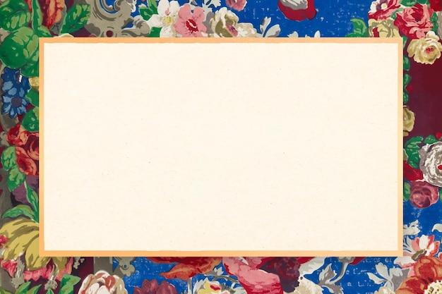 Illustration de fleur victorienne de vecteur de cadre à motifs floraux vintage