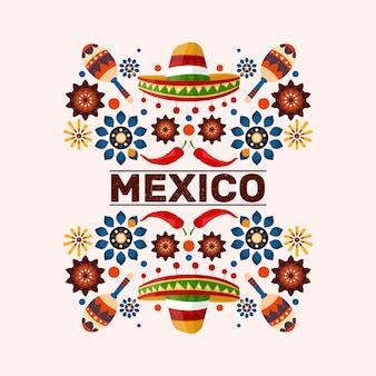 Illustration de fleurs mexicaines colorées