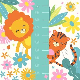 Illustration florale avec des animaux sauvages