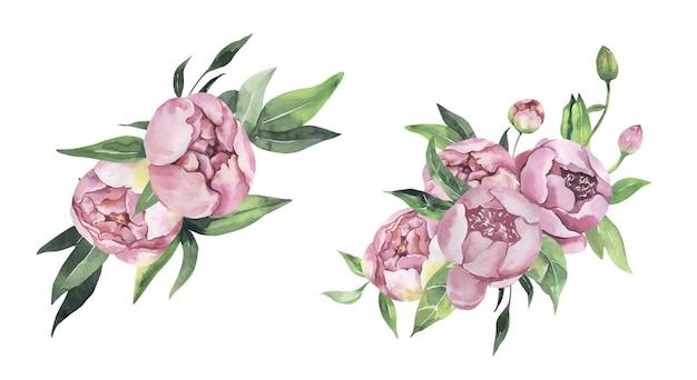 Illustration florale aquarelle - bouquet.