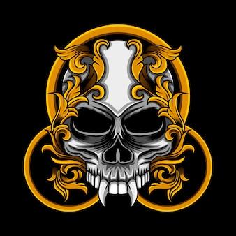 Illustration florale de cercle de crâne