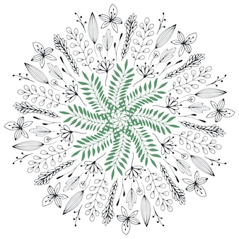 Illustration florale dessinée à la main. cercle abstrait avec des fleurs de doodle mignon. élément de design décoratif de vecteur. art printanier