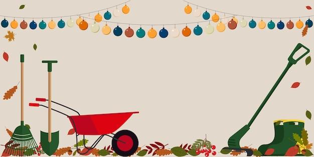 Illustration de flyer comportant des feuilles d'automne, des outils de jardin, des guirlandes et un espace vide pour le texte