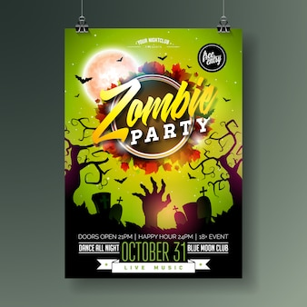 Illustration de flyer fête halloween zombie