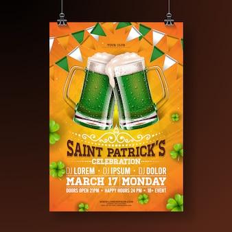 Illustration de flyer fête saint patricks day avec bière verte, drapeau et trèfle sur fond orange.