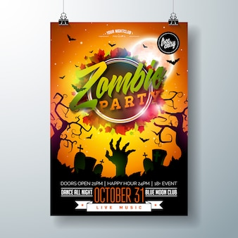 Illustration de flyer halloween zombie party