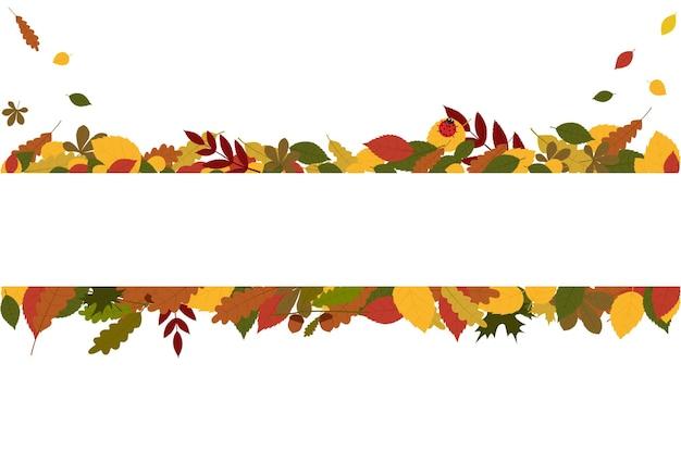 Illustration de flyer de vecteur avec feuillage d'automne et place vide pour le texte
